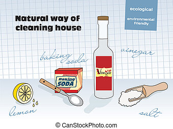Natural way of cleaning house; vinegar, lemon, salt, baking...