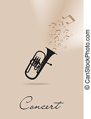 Template for the concert poster with trumpet