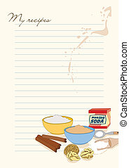 Template for recipes with picture of baking soda, flour,...