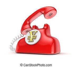 Retro telephone with yen symbol.