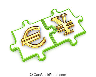 Euro and yen symbols on a puzzles.Isolated on white...