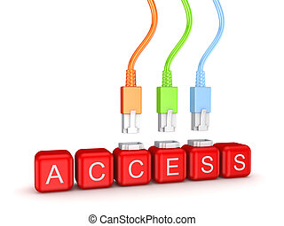 Colorful patchcords and word Access.Isolated on white...
