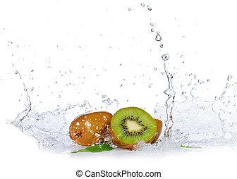 Fresh kiwis with water splash, isolated on white background