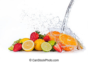 Fresh fruit with water splash, isolated on white background