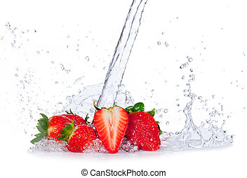 Fresh strawberries with water splash, isolated on white...