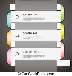 Website paper page design template with icons and sample...