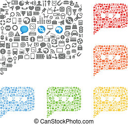 abstract talking clouds of web icons collection