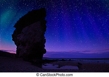 Night shot at Carbonares coast, in Spain, natural park of...