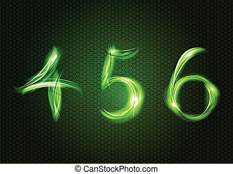 Abstract four, five, six - Green numbers FOUR, FIVE, SIX.