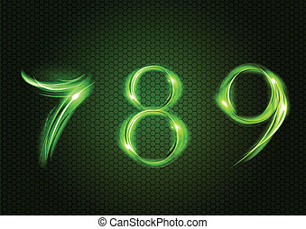 Abstract seven, eight, nine - Green numbers SEVEN, EIGHT,...