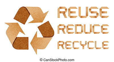 Recycle Logo From Recycle Paper with Origami Paper Word...