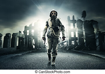 lonely hero - Post apocalyptic survivor in gas mask,...