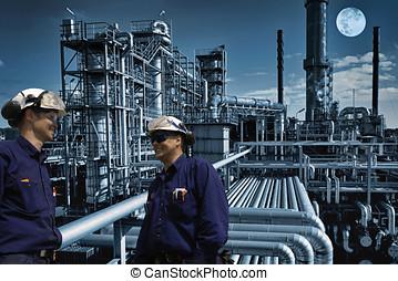 óleo, Trabalhadores, night-shift