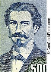 Eduardo Abaroa 1838-1879 on 500 Pesos Bolivianos 1981...
