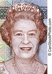 Elizabeth II born 1926 on 5 Dollars 2011 Banknote from Fiji...