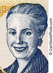 Eva Peron (1919-1952) on 2 Pesos 2001 Banknote from...