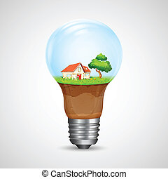House inside Bulb - illustration of house with tree inside...
