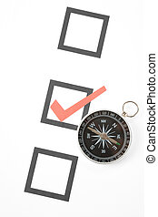 questionnaire and compass, concept of decision