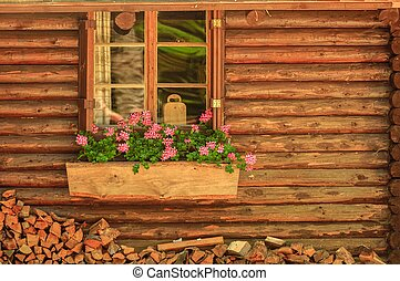 Small wooden cottage with window - Small wooden cottage with...
