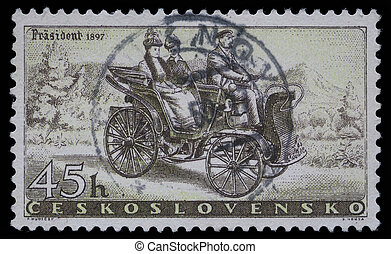 Prasident Car of 1897 - A stamp printed in Czechoslovakia,...