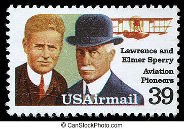 Lawrence and Elmer Sperri, Aviation Pioneers - A stamp...