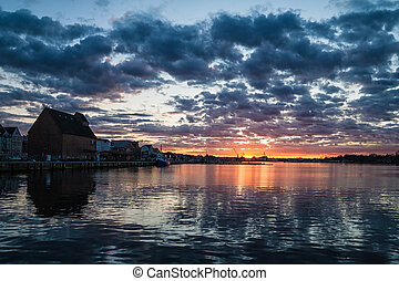 Sunset in the port of Rostock (Germany).