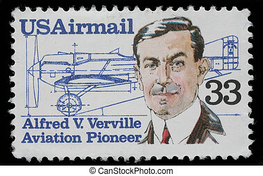 Alfred V Verville 1890-1970, aircraft designer - A stamp...
