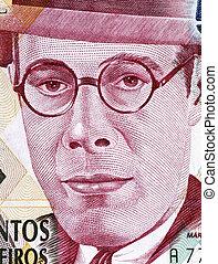 Mario de Andrade (1893-1945) on 500000 Cruzeiros 1993...