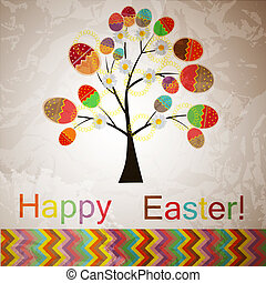 vector easter tree with eggs