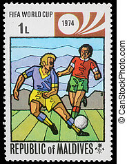 Fifa World Cup - Stamp printed by Maldives, shows Fifa World...