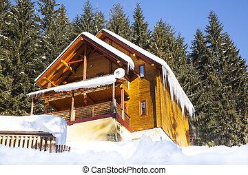 Wooden chalet in winter mountain in Carpathians