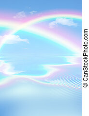Rainbow Heaven - Fantasy abstract of double rainbows agianst...