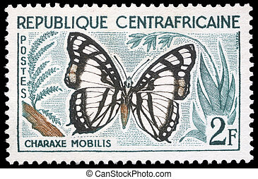 Butterfly, Charaxe Mobilis - A stamp printed in Central...