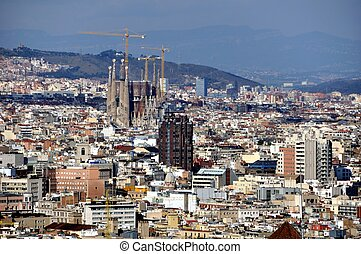 Aerial view of Barcelona Sagrada Familia from Mountain...
