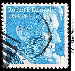 Robert Kennedy - A stamp printed in USA, shows Robert...