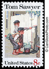 Tom Sawyer - A stamp printed in USA shows the painting Tom...