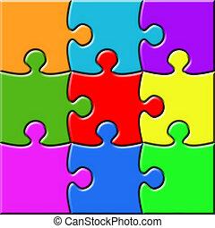 colorido, 3x3, rompecabezas