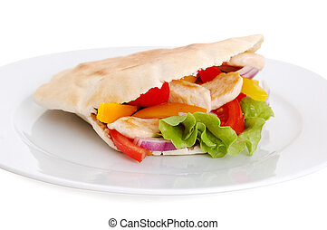 chicken and pita - pita with roasted chicken and fresh...