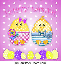 easter card with a  chick