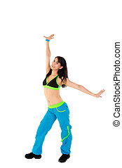 Young Fitness Instructor against white background in studio
