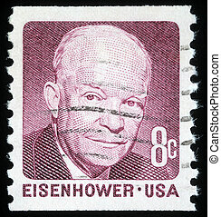Dwight Eisenhower - A stamp printed in the United States of...