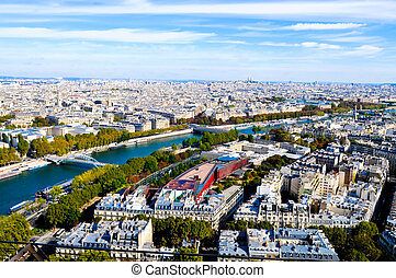 Aerial view from top of Eiffel Tower.