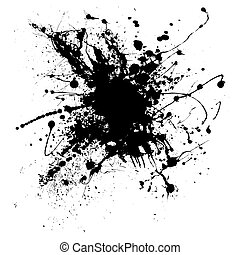 ink splatter one - Random illustrated ink splat in black and...