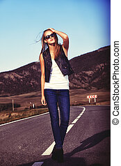 casual fashion - Full length portrait of a beautiful young...