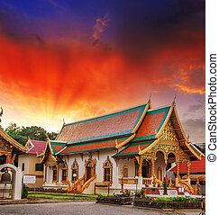 Gorgeous view of Thailand Temple with dramatic sky
