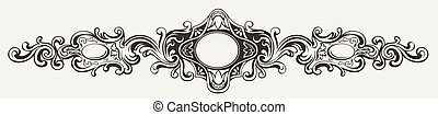 Wide Antique Ornate Frame Engraving