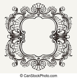 Elegant Baroque Ornate Curves Engraving Frame