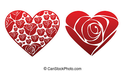 Rose Hearts - A pair of hearts filled with rose patterns.