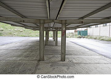 Roof structure - Metal roof structure in the car park,...