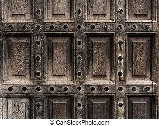 Antique wooden door closeup